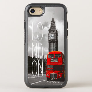Retro Vintage London-Stadt-rotes Bus-Big- BenFoto OtterBox Symmetry iPhone 8/7 Hülle