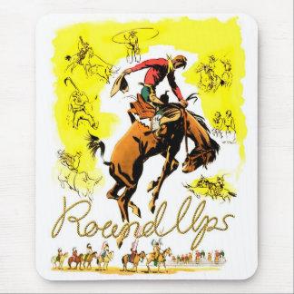 Retro Vintage Rodeo-Cowboy-Zusammenfassung Mousepad