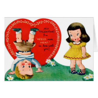 Retro Vintage Valentinepaare addieren Karte