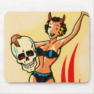 Retro Vintages Kitsch-Button herauf Teufel-Mädchen Mauspad