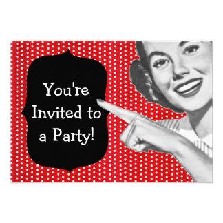 Retro Zeigefrauen-Geburtstag Individuelle Einladungskarten