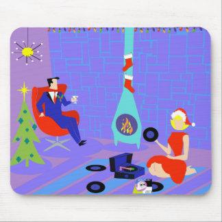 Retro Zuhause für das Feiertags-Weihnachten Mauspad