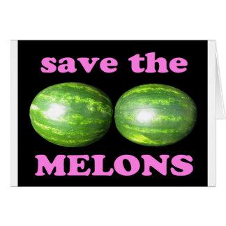 retten Sie die Melonen auf Schwarzem mit Rosa Karte