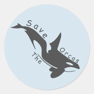 Retten Sie die Orcas Runder Aufkleber