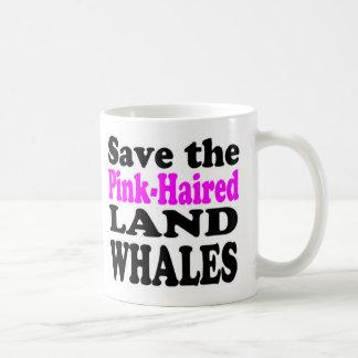 RETTEN Sie die ROSA-HAARIGEN LAND-WALE - Tasse