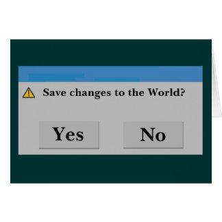 Retten Sie die Weltkarte Mitteilungskarte