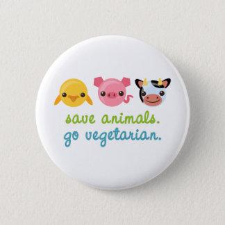 Retten Sie Tiere gehen Vegetarier Runder Button 5,1 Cm