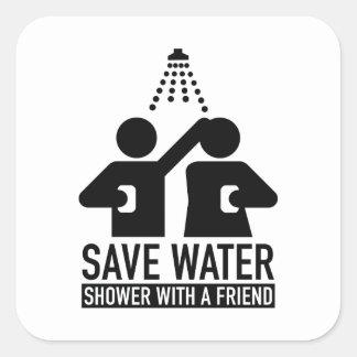 Retten Sie Wasser-Dusche mit einem Freund Quadrat-Aufkleber