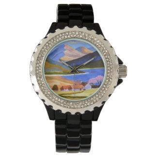 Rhinestone-schwarzes Email Armbanduhr