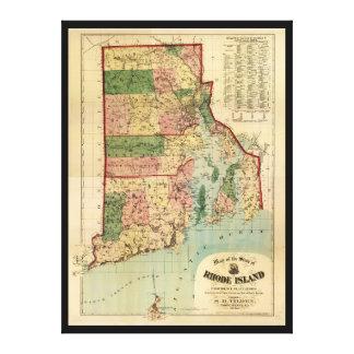 Rhode Island u. Providence-Plantagen-Karte (1880) Leinwand Druck