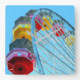 Riesenrad an Santa Monica Pier, Kalifornien Quadratische Wanduhr