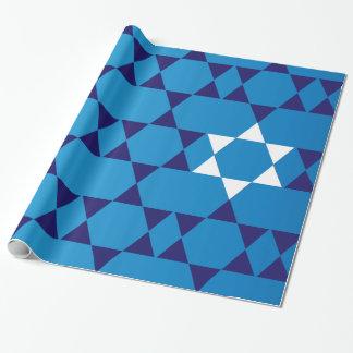 Riesige blaue jüdische Sterne Geschenkpapier