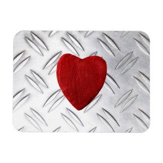 Riffelblech Hintergrund mit Herz Magnet