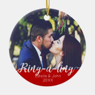RING-A-LING! Jungvermählten-Verlobungs-erstes Keramik Ornament