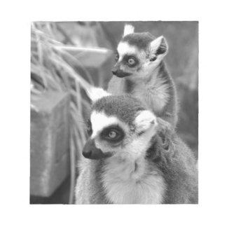 Ring-angebundener Lemur mit dem Baby Schwarzweiss Notizblock