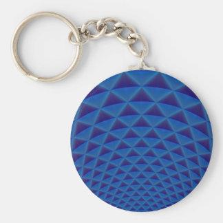 Ringe der Dreiecke in blauem Keychain Standard Runder Schlüsselanhänger