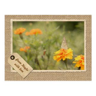 Ringelblumen-Schmetterlings-Vintager Postkarte
