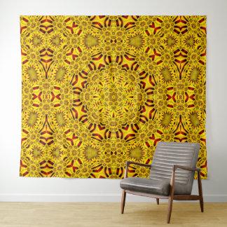 Ringelblumen-Vintage Kaleidoskop-Wand-Tapisserie Wandteppich