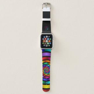 Ringsum und psychedelisches buntes Kunst-Monogramm Apple Watch Armband