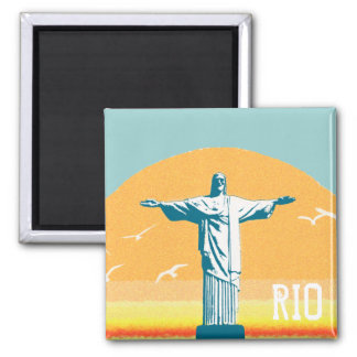 Rio - Corcovado - Jesus Christus der Redeemer Quadratischer Magnet