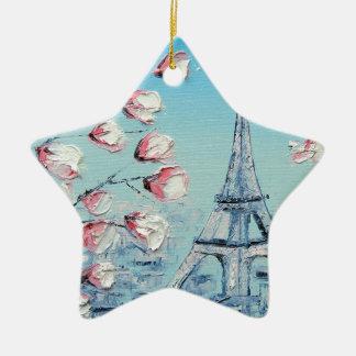 ris-Frühlings-Malerei, Eiffelturm-Kirschblüten Keramik Stern-Ornament