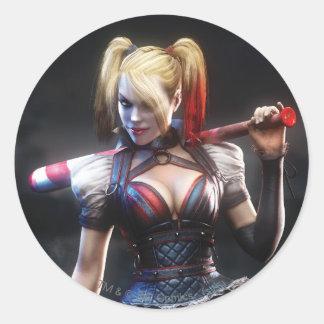 Ritter Batmans Arkham | Harley Quinn mit Schläger Runder Aufkleber