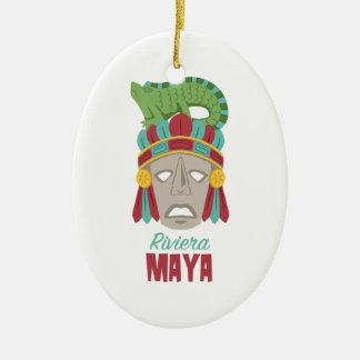 Riviera-Maya-Maske Ovales Keramik Ornament