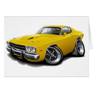 Roadrunner-gelbes Auto 1973-74 Grußkarte
