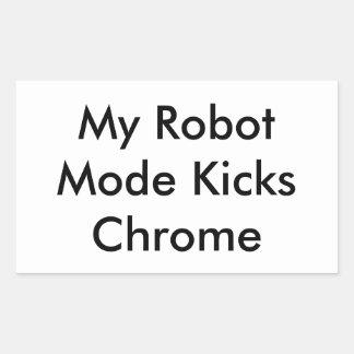 RoboPop - mein Roboter-Modus tritt Chrom Rechteckiger Aufkleber