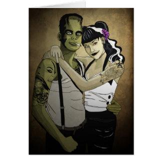 Rockabilly Frank und Braut Grußkarte