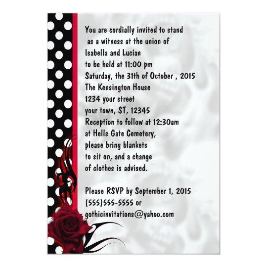 Rockabilly Rosen Und Polka Punkte Goth Hochzeit Einladung