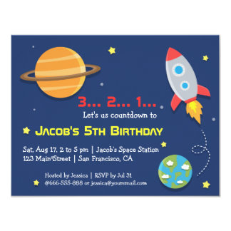 Rocket zum Weltraum-Party, Kindergeburtstag 10,8 X 14 Cm Einladungskarte