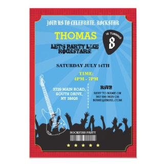 Rockstar Felsen-Musik-Konzert-Geburtstags-Party 12,7 X 17,8 Cm Einladungskarte