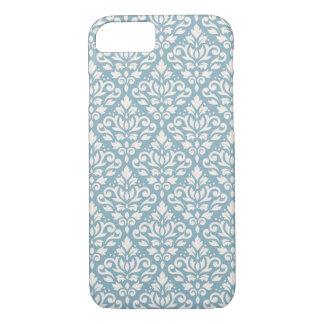 Rolle-Damast-Muster-Creme auf Blau iPhone 8/7 Hülle