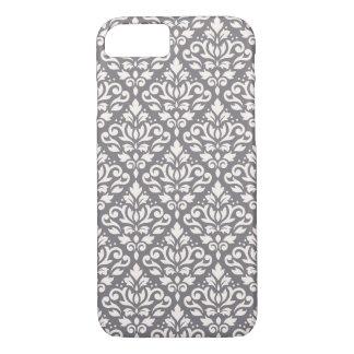 Rolle-Damast-Muster-Creme auf Grau iPhone 8/7 Hülle
