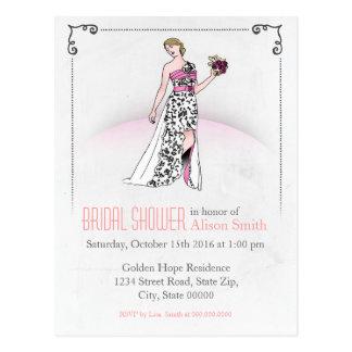 Romantic Bridal modern shower invitation Postkarte