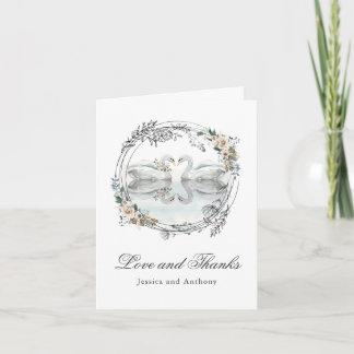 Romantische Hochzeits-Schwäne danken Ihnen Dankeskarte