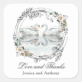 Romantische Hochzeits-Schwäne danken Ihnen Quadratischer Aufkleber