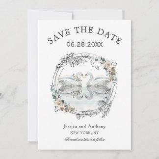 Romantische Hochzeits-Schwäne Save the Date