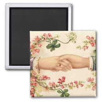 Romantische irische Hochzeits-Magnet-Bevorzugungen Quadratischer Magnet