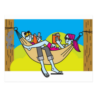 Romantische Lesung in der Sommerzeit Postkarte
