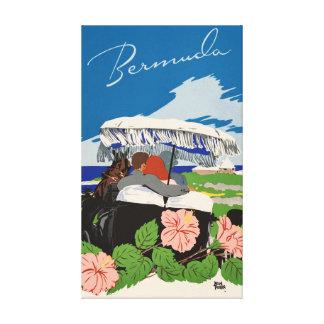 Romantische retro Vintage Reiseanzeige Bermudas Leinwanddruck