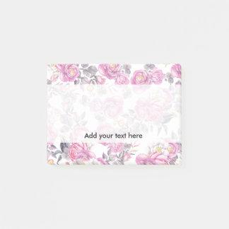 Romantische Rosen des botanischen rosa grauen Post-it Klebezettel