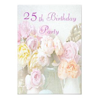 Romantische Rosen Glas-im 25. Geburtstags-Party Individuelle Ankündigung