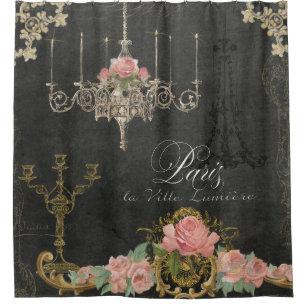 Romantische Rosen-Leuchter-Tafel Paris Pariser Duschvorhang