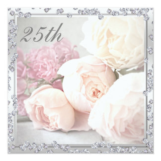 Romantische Rosen u. Diamant-25. Geburtstags-Party Individuelle Einladung