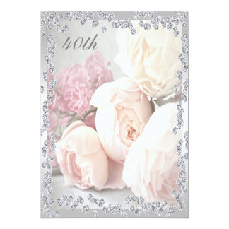 Romantische Rosen u. Diamant-40. Geburtstags-Party 12,7 X 17,8 Cm Einladungskarte