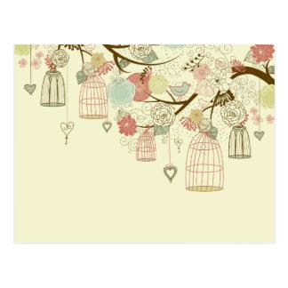 Romantische Rosen, Vögel, Birdcages, mit Postkarte