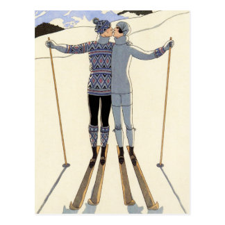 Romantische Skifahren-Paar-Postkarte Postkarte