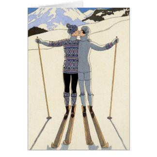 Romantische Skifahren-Paare Karte